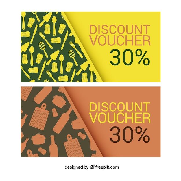 Discount coupons restaurant set vector free download - Houseplanscom discount code set ...