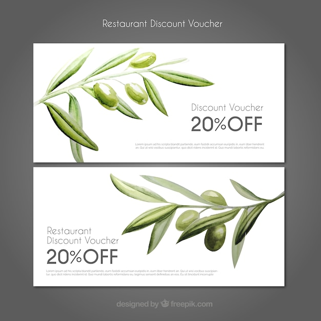 Discount coupons restaurant with watercolor olives Free Vector