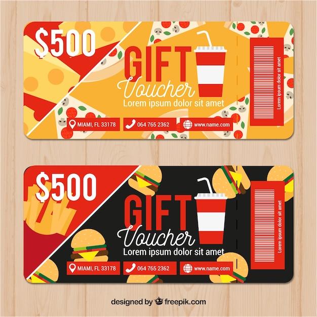 Discount coupons in restaurant Free Vector