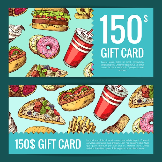Discount or gift voucher with hand drawn colored fast food banner Premium Vector