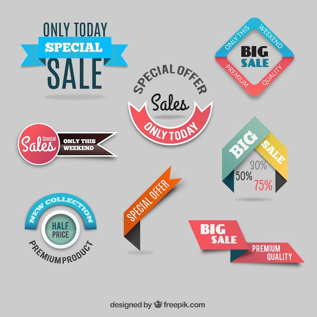Discount labels collection Free Vector