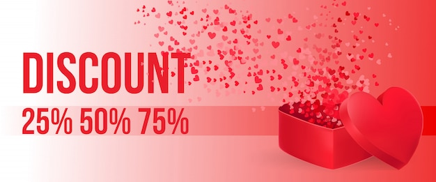 Discount lettering with open heart shaped gift box Free Vector
