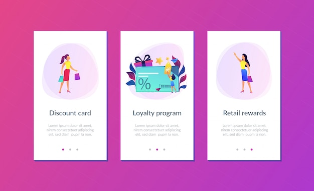 Discount and loyalty card app interface template. Premium Vector