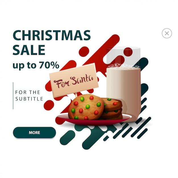 Всплывающая скидка на сайт с абстрактными фигурами в красных и зеленых тонах и печенье Premium векторы