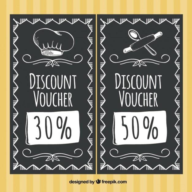 Discount restaurant in blackboard style Free Vector