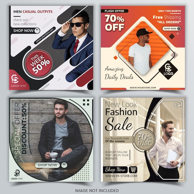 Discount sale banners for social media Premium Vector