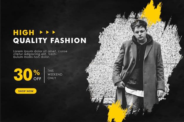 Discount sale social media banner template abstract splash background Premium Vector