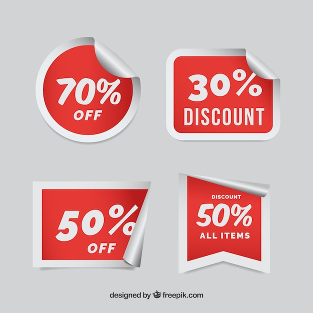 Discount sticker collection Free Vector