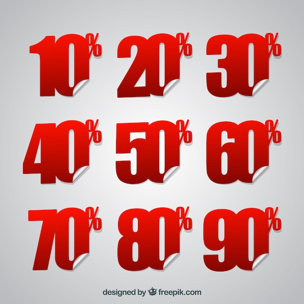 Discount sticker of % numbers pack Free Vector