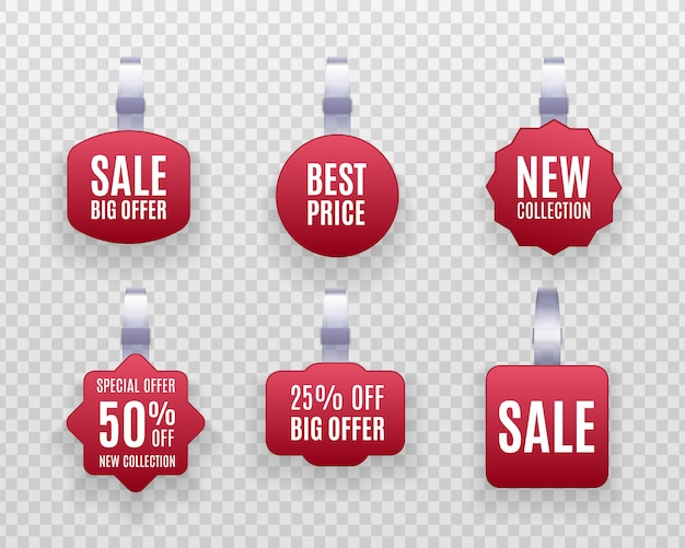 Discount sticker, special offer, plastic price banner, label for your . set of realistic detailed  red wobbler promotion sale labels  on a transparent background. Premium Vector