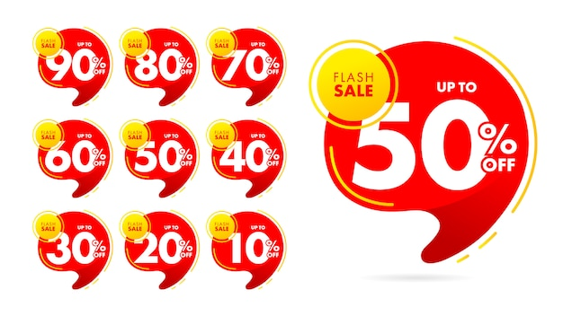 Discount tags template design for sale banner set. Premium Vector