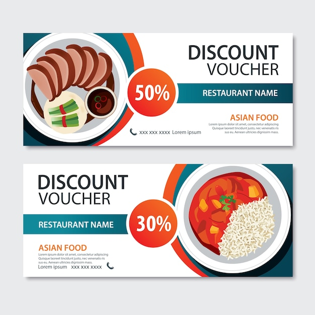 Discount voucher asian food template . chinese set Premium Vector