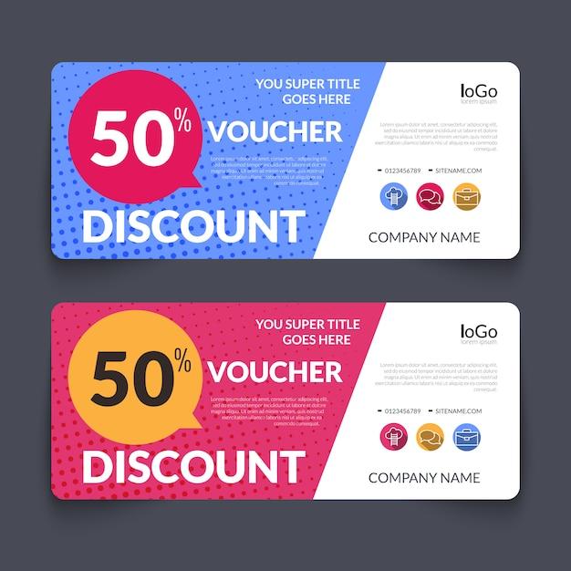 Discount voucher design template colorful halftone pattern Premium Vector