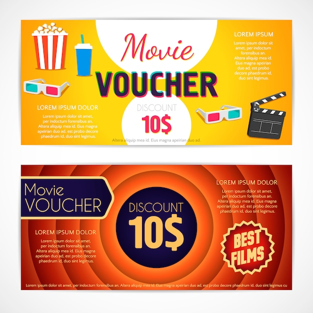 Discount voucher movie template, cinema gift certificate, coupon template Premium Vector