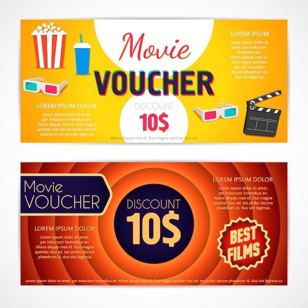 Discount voucher movie template Premium Vector