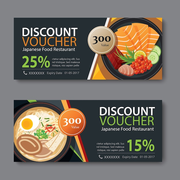 Discount voucher template with japanese food flat design Vector ...