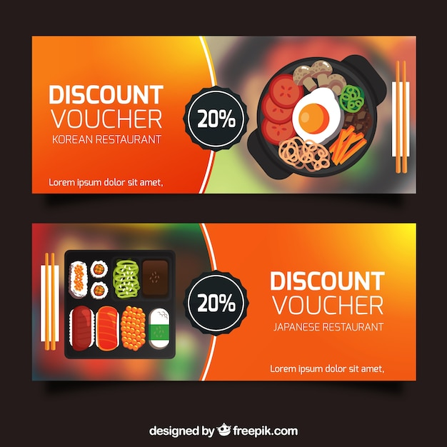 Beautiful Discount Vouchers Banners Collection Free Vector  Free Discount Vouchers