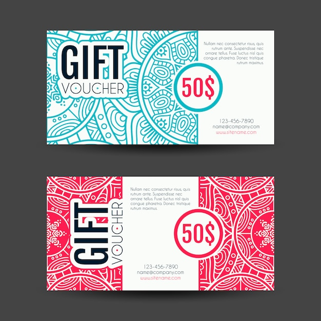 Marvelous Discount Vouchers Decorated With Mandalas Free Vector Within Free Discount Vouchers