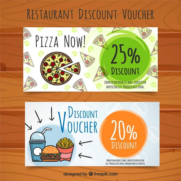 Discount vouchers for food, hand painted Free Vector
