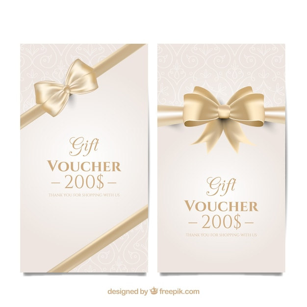 Discount Vouchers With A Golden Bow Free Vector  Free Discount Vouchers
