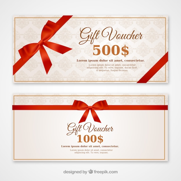 Discount vouchers with a red bow Free Vector