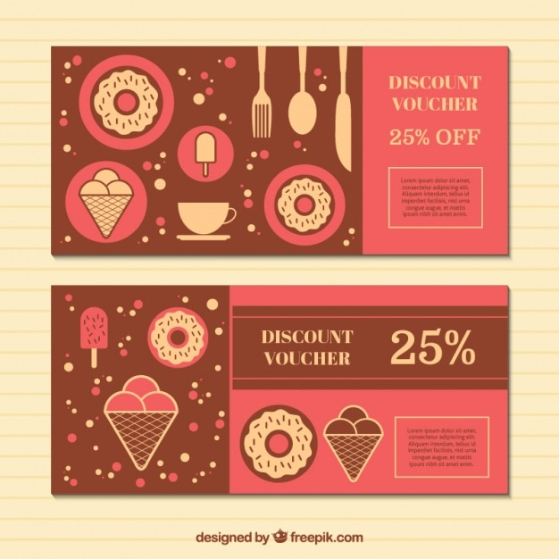 Discount vouchers with sweets in flat design Vector – Free Discount Vouchers