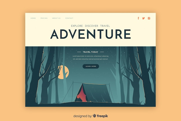 Discover adventure landing page Free Vector