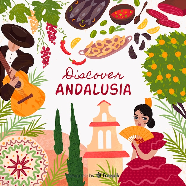 Discover andalusia Free Vector
