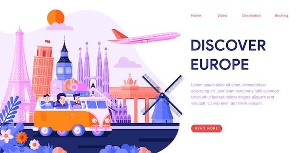 ヨーロッパのランディングページを発見する Premiumベクター