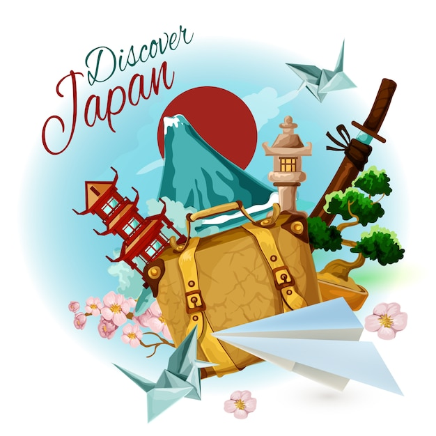 Discover japan poster Free Vector