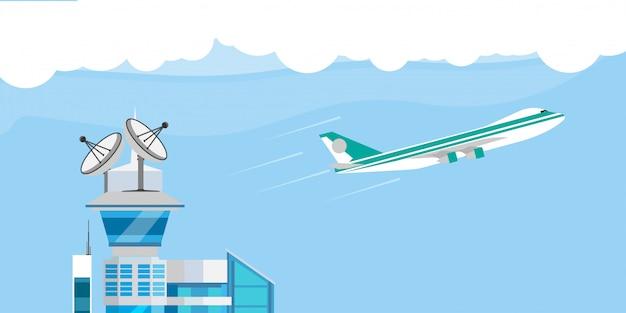 Станция запуска самолета иллюстрации центра управления полетом плоская. мультяшная башня спутник discovery travel взлет авиация sky system Premium векторы