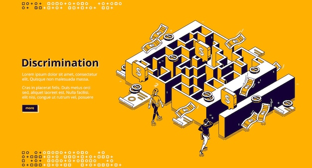 Discrimination banner. concept of gender inequality in business, difference in wage and opportunities for professional career. isometric illustration of maze, money, woman and man Free Vector