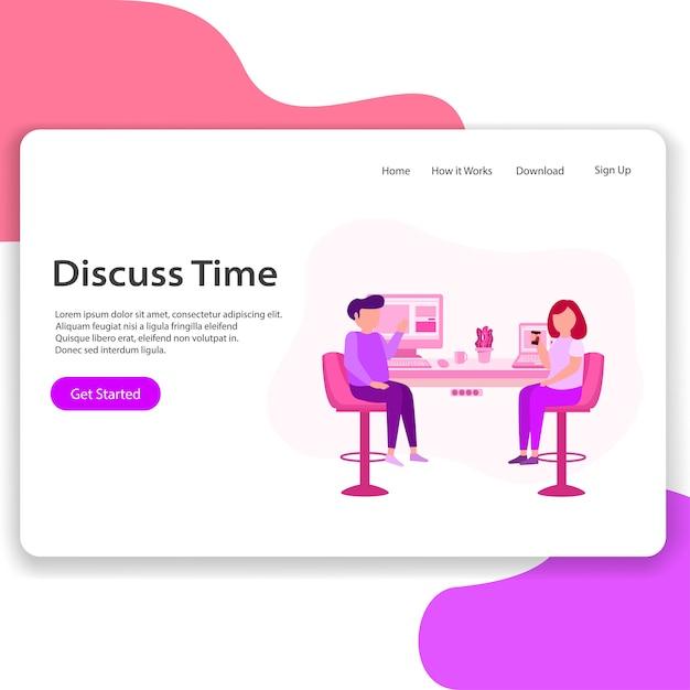Discuss time landing page illustration Premium Vector