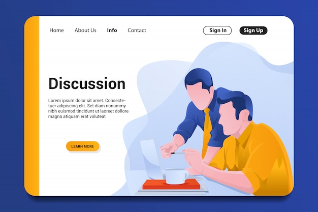 Discussion landing page background. Premium Vector