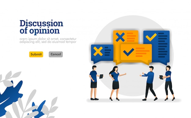 Discussion of opinion. with illustrations of people who were debating vector illustration concept Premium Vector