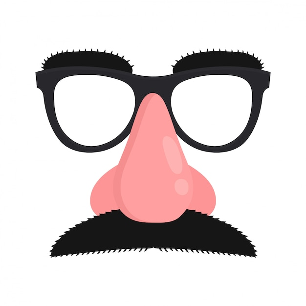 Disguise mask. mask with glasses fake nose and mustache. Premium Vector