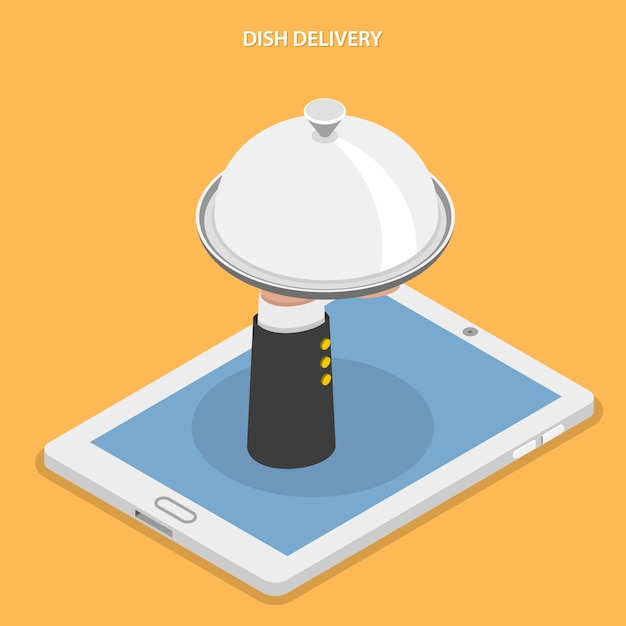 Dish delivery flat isometric vector illustration. Premium Vector