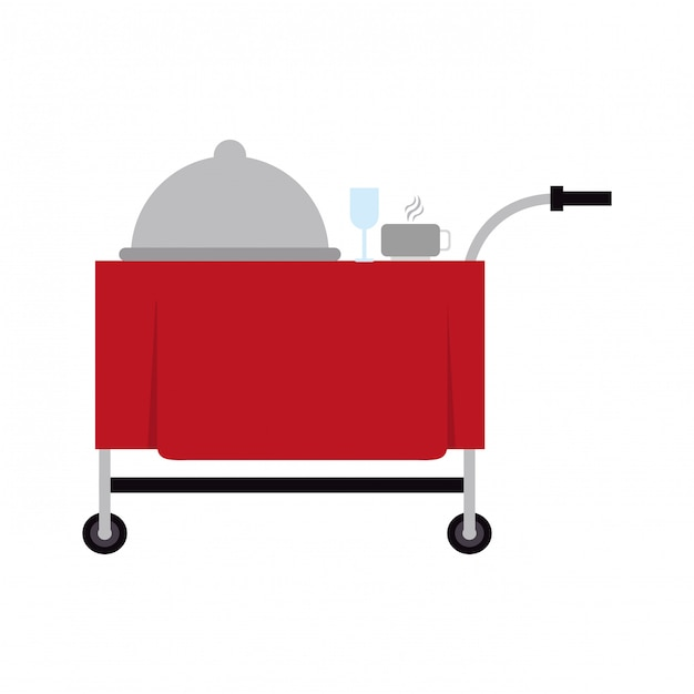 Dish dome cup and cutlery on cart Premium Vector