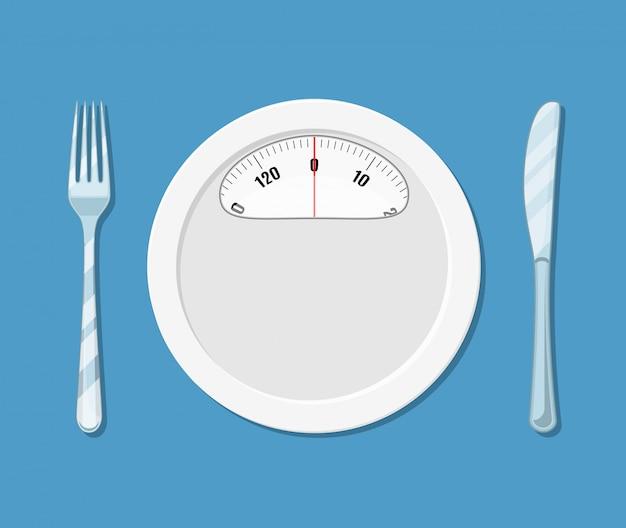 Блюдо, как подушка с ножом и вилкой. bascula Premium векторы