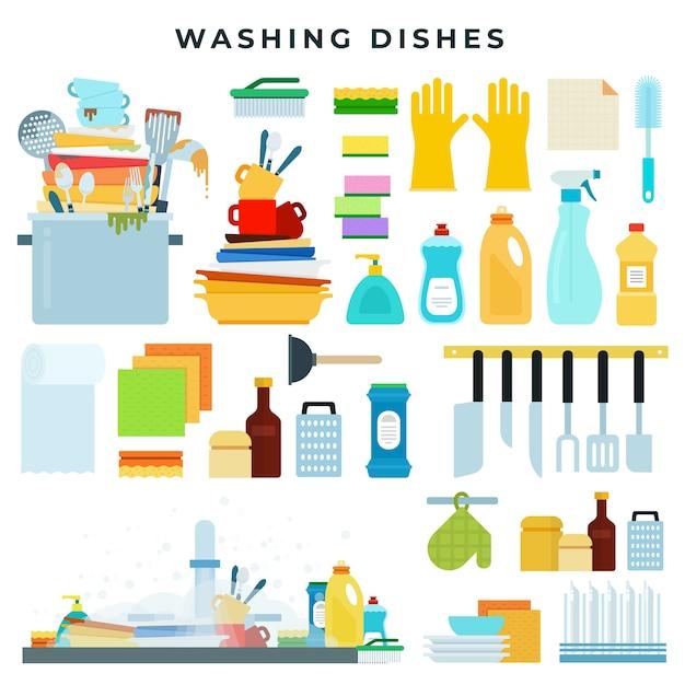 Иллюстрация оборудования для мытья посуды Premium векторы