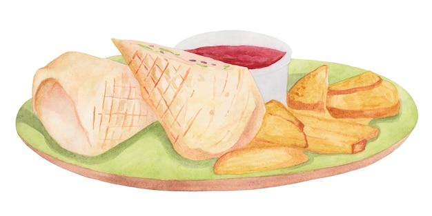 ポテトソースとシェーバーマの水彩画のある料理 Premiumベクター