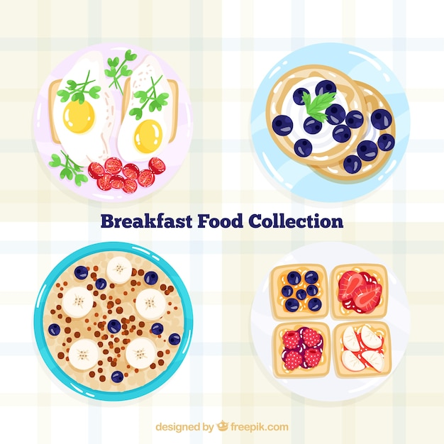 Dishes collection with breakfast food