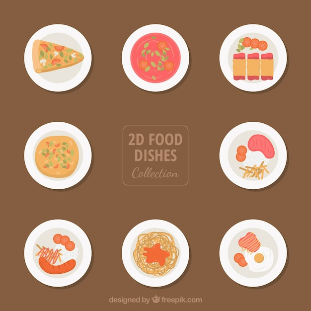 Dishes collection with delicious food