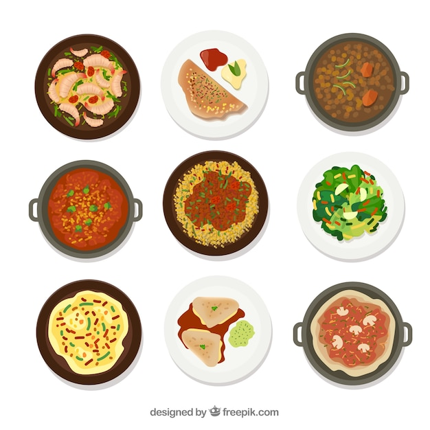Dishes collection with different food