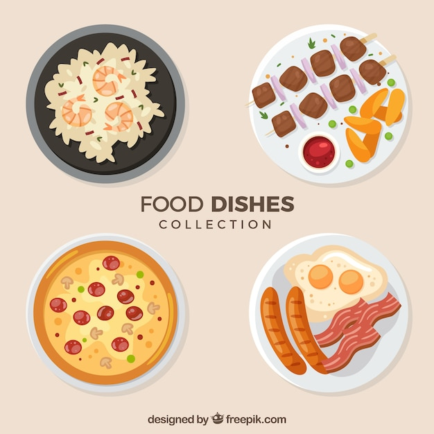 Dishes collection with food in top view