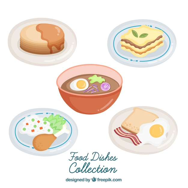 Dishes collection with food