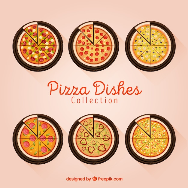 Dishes collection with pizzas in top\ view