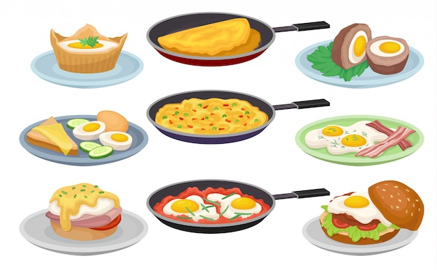 Dishes from eggs set, fresh nutritious breakfast food,  element for menu, cafe, restaurant  illustrations on a white background Premium Vector