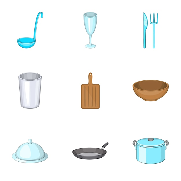 Dishes icons set, cartoon style Premium Vector