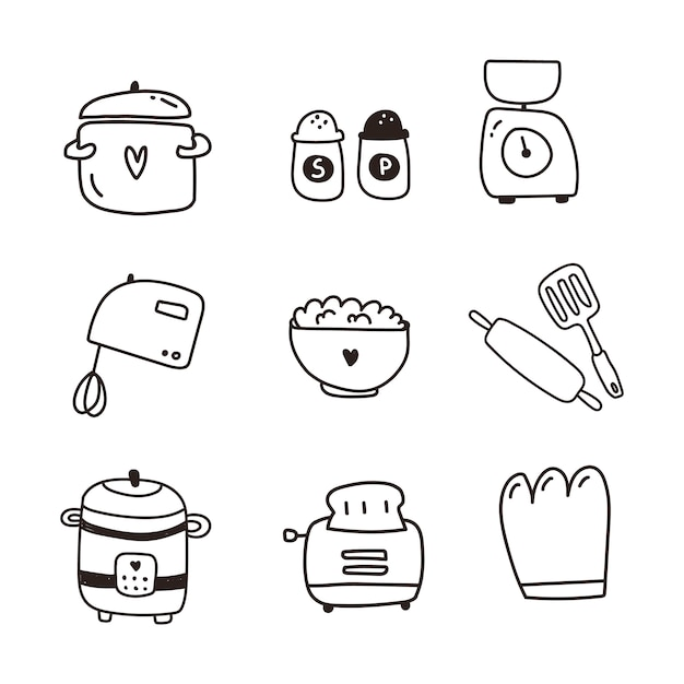 Dishes, kitchen items set of icon. hand draw Premium Vector